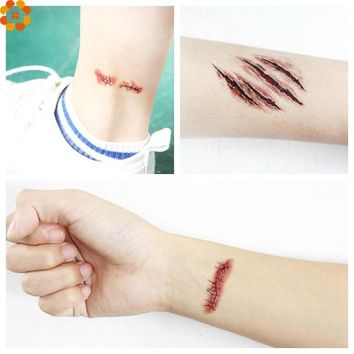 10PCS Scary Injury Sticker&Zombie Scars Tattoos With Fake Scab Blood Special Fx Costume Makeup For Halloween Decoration Supplies