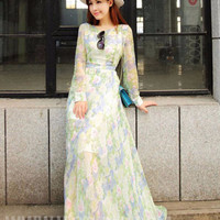 Green Floral Chiffon Long Sleeve Sheath A-Line Maxi Dress