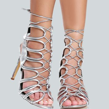 Braided Tie Up Lace Strappy Heels SILVER