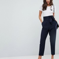 ASOS Tailored High Waist Tapered PANTS With Tie Waist at asos.com