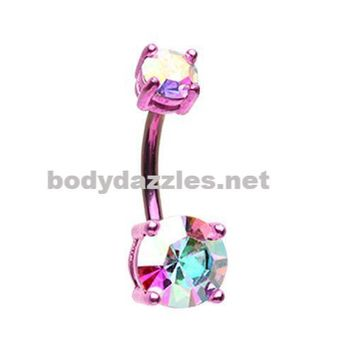 Pink Colorline Brilliant Sparkle Gem Prong Set Belly Button Ring Navel Ring 14ga