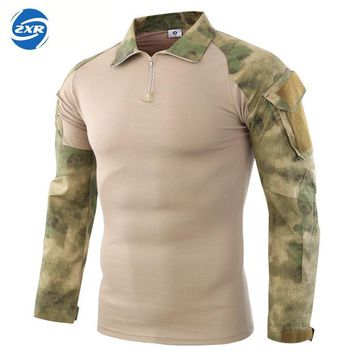 Ruin camouflage Army Hiking T-shirts Men Soldiers Combat Tactical Military Force Multicam Camo Long Sleeve Hunting T-shirt