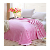 Plush Soft Queen Soild Color Micro fleece Bed Throw Blanket 180cm Pink