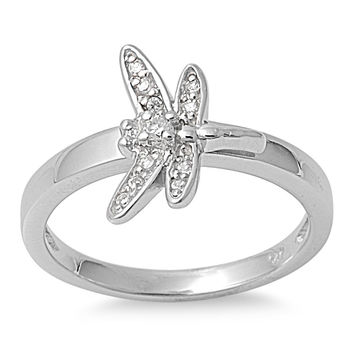925 Sterling Silver CZ Dragonfly Ring 13MM