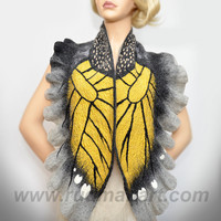 Felted Art scarf Wrap Shawl Wool Monarch butterfly. Organic natural eco materials Gray Dark Gray Mustard Yellow