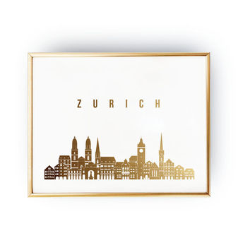 Zurich Print, Zurich Skyline, Zurich Cityscape, Skyline Art, Real Gold Foil Print,  Home Decor, Switzerland Print, Switzerland Wall Art, 5x7