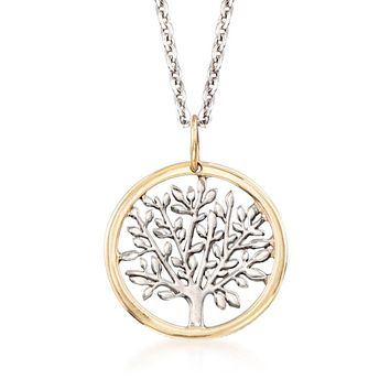 Spring Time Tree of Life Minimalist Circular Pendant Necklace in 14K Gold Plating