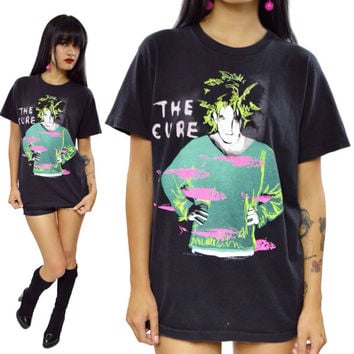 Vintage 80s The Cure Standing on A Beach Staring At The Sea T Shirt Sz M
