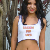 Lakers For Life White Ribbed Crop Top