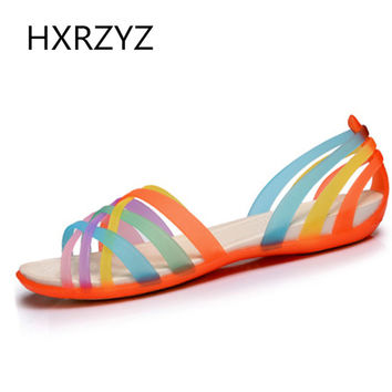 woman flat sandals transparent shoes colorful jelly shoes lady clear shoes beach sandals women summer shoes peep-toe