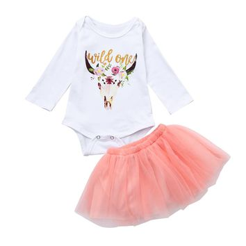 baby girl clothing set Xmas Newborn Baby Girls Deers Romper Cotton Tops+Tutu Skirt Christmas Outfits Costume