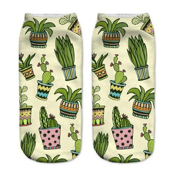 3D Cute Sucking Succulent plants Printed sock Men New Unisex Cute Low Cut Ankle Sock  Cotton sock Casual Charactar Sock