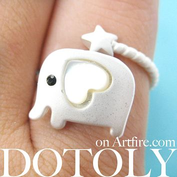 Elephant Wrap Around Star Shaped Ring in Silver Size 7 | DOTOLY