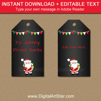 Printable Santa Tags, Christmas Chalkboard Tag, From Santa Tags, EDITABLE Christmas Gift Tag, Christmas Tags, Kids Christmas Tag Template C5