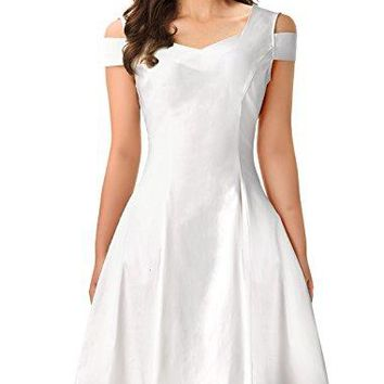 InsNova Women's Off Shoulder Little Cocktail Party A-line Skater Dress