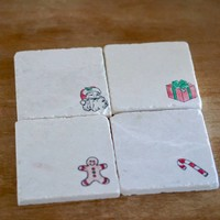 Christmas Decorations Marble Coasters