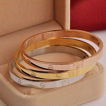 One-nice? BEAUTIFUL LOVE BRACELETS GOLD/ROSE GOLD PLATED NOT CARTIER **EXCELLENT GIFTS