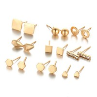 9 Pairs Set Punk Gold Color Stud Earring For Women Summer Style Vintage Hollow Round Earrings Set Fashion Jewelry