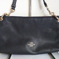 Auth COACH F55661 Dark Navy Leather Shoulder Bag