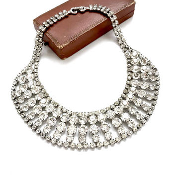 Clear Rhinestone Bib Necklace, Multi Size Stones, Prong Set, Vintage 1960s, 5 Rows, Wide Bib, Silver Tone, Bridal  Necklace, Wedding Jewelry