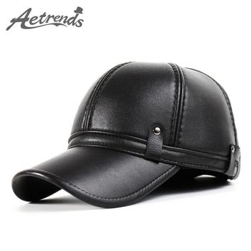 [AETRENDS] 2016 New Winter Leather Baseball Cap Men Polo Hat with Ears Warm Hats Z-386