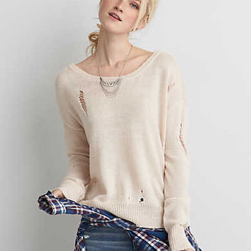 AEO Distressed Sweater , Cream