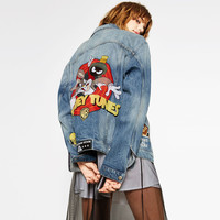 Fashion Rabbit Letter Cartoon Character Washed Bleached Jacket Turn-down