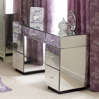 Venetian Mirrored Furniture 7 Drawer Dressing Table | Dunelm