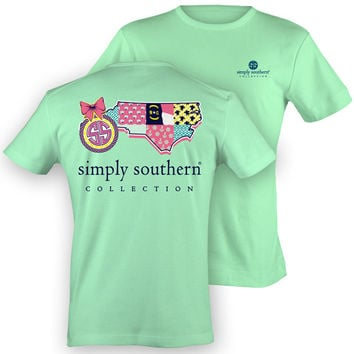 Simply Southern North Carolina Chevron Preppy State Pattern Girlie Bright T Shirt