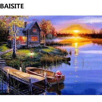BAISITE Frameless DIY Oil Painting Pictures By Numbers On Canvas Wall Pictures Wall Art For Living Room Home Decoration C153