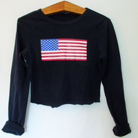 Wms Vintage 1990s American Flag Crop Long Sleeve Tee
