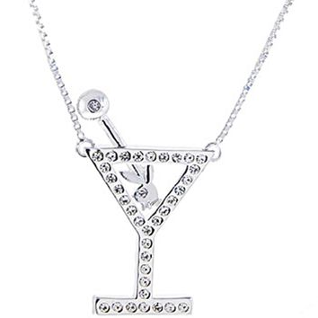 Sterling Silver 925 Playboy Bunny Jeweled MARTINI GLASS Pendant NECKLACE