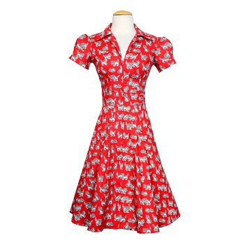 Derby Swing Dress in Red Kitten Print