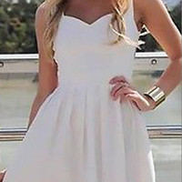White Sleeveless Strappy Cut-Out Back Mini Skater Dress