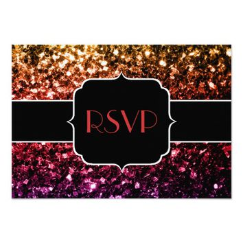 Rainbow yellow red purple sparkles Sweet 16 RSVP 3.5x5 Paper Invitation Card