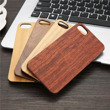Wood Case for iPhone SE 5 5s 6 6s Plus 7 7Plus Wooden 6 New Cover Natural Bamboo Patterns Wood Slice + Plastic Edges Back Cover