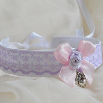 Petite fille - fairy kei kawaii cute neko lolita kitten pet play collar with heart pendant - lavender lilac pink and white