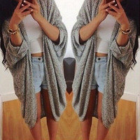 Womens Gray None-Button Long-Sleeve Asymmetrical Cardigan