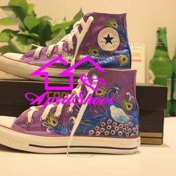 purple converse sneakers peacock shoes custom shoes with peacock design women shoes