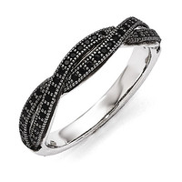 Sterling Silver Black CZ Brilliant Embers Twist Ring