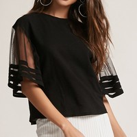 Twelve Sheer-Sleeve Top
