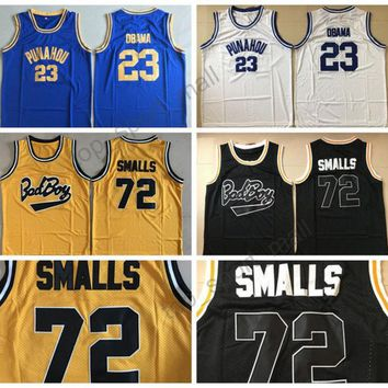 Bad Boy Notorious Big 72 Biggie Smalls Jersey Movie Punahou High School 23 Barack Obama Basketball Jerseys Black White Purple Yellow