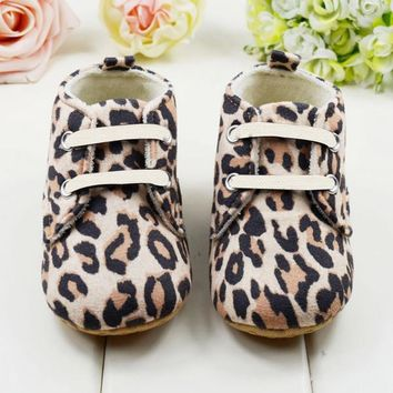 Cute Newborn Baby Shoes Girl Infant Toddler Leopard Crib Shoes First Walkers Fit 0-1 Y