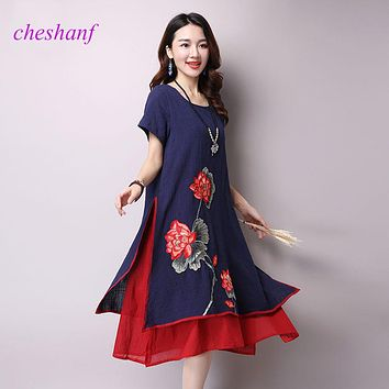 2018 Summer New Plus Size Women Folk Style Short-sleeved O-neck Cotton Linen Fake Two-Piece Printed Dress Vintage Dress Vestidos