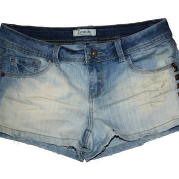 Bleached Studded Denim Short