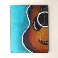 GUITAR, Original Canvas Painting, 11x14 acrylic, Music Decor