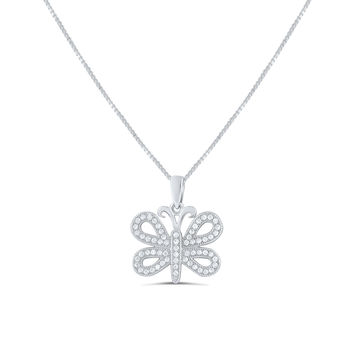 Sterling Silver Cz Butterfly Necklace 18""