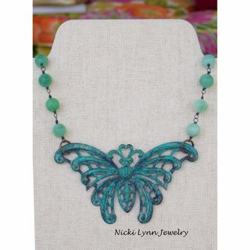 Large Victorian Patina Butterfly Necklace