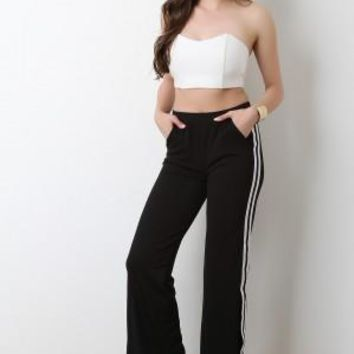 Side Slit Striped Pants