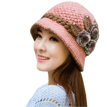 FEITONG Brand Wool Winter Warm Hat Fashion Women Lady  Crochet Knitted Flowers Decorated Ears Hat